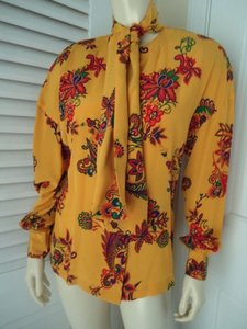 Other Sandra Shirt Ciao Sport Silk Hidden Button Front Attached Scarf Top Yellow, Purple, Red, Green, Orange