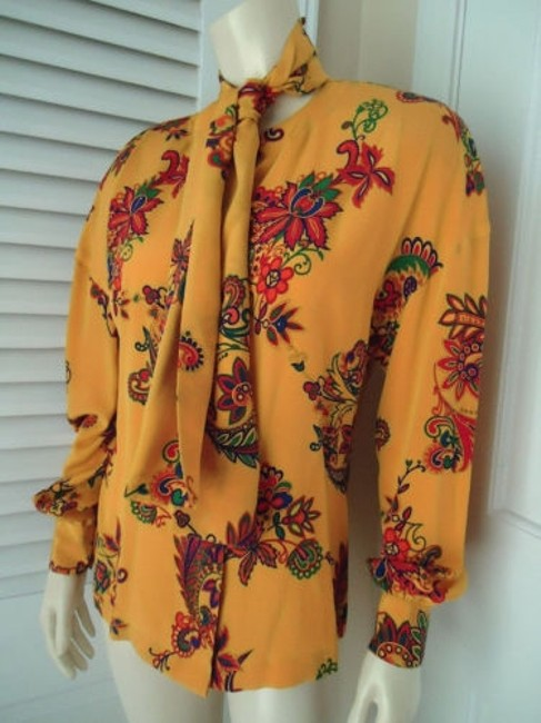 Other Sandra Shirt Ciao Sport Silk Hidden Button Front Attached Scarf Top Yellow, Purple, Red, Green, Orange Image 1