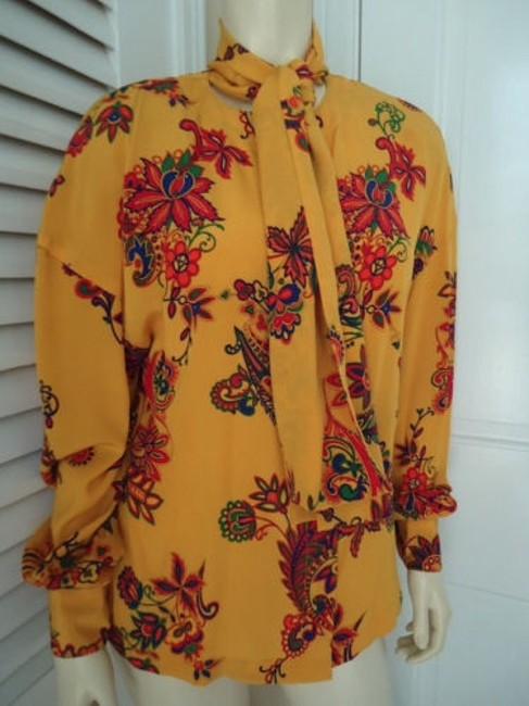 Other Sandra Shirt Ciao Sport Silk Hidden Button Front Attached Scarf Top Yellow, Purple, Red, Green, Orange Image 2