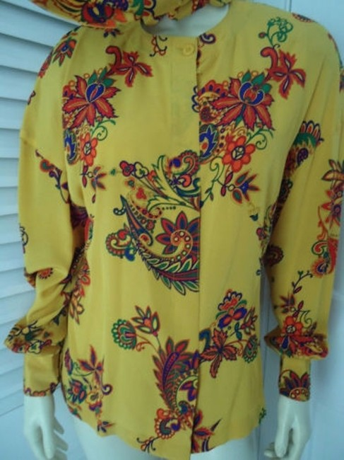Other Sandra Shirt Ciao Sport Silk Hidden Button Front Attached Scarf Top Yellow, Purple, Red, Green, Orange Image 3