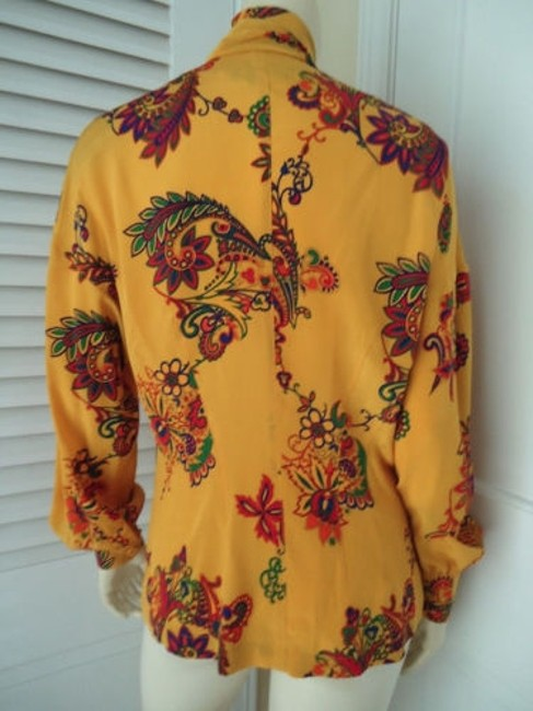 Other Sandra Shirt Ciao Sport Silk Hidden Button Front Attached Scarf Top Yellow, Purple, Red, Green, Orange Image 5