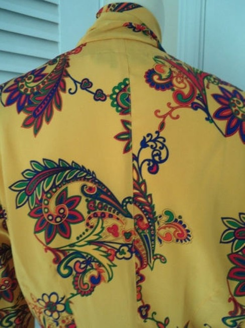 Other Sandra Shirt Ciao Sport Silk Hidden Button Front Attached Scarf Top Yellow, Purple, Red, Green, Orange Image 6