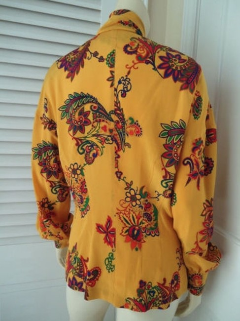 Other Sandra Shirt Ciao Sport Silk Hidden Button Front Attached Scarf Top Yellow, Purple, Red, Green, Orange Image 7