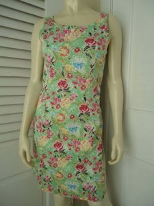 Other Yuka Resort Cotton Spandex Sheath Floral Butterfly Print Dress