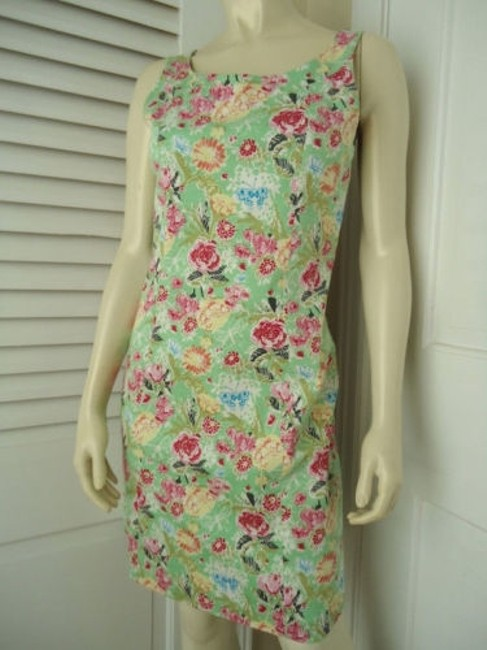 Other Yuka Resort Cotton Spandex Sheath Floral Butterfly Print Dress Image 1