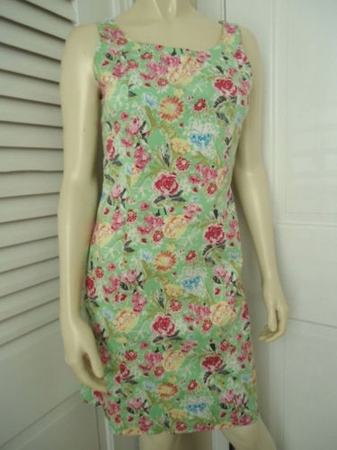 Other Yuka Resort Cotton Spandex Sheath Floral Butterfly Print Dress Image 2