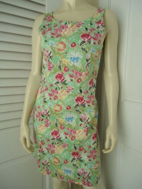 Other Yuka Resort Cotton Spandex Sheath Floral Butterfly Print Dress Image 4