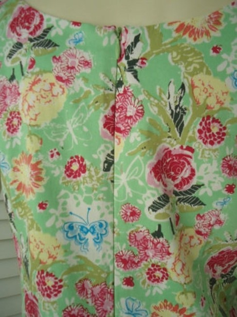 Other Yuka Resort Cotton Spandex Sheath Floral Butterfly Print Dress Image 7
