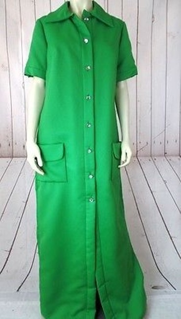 Preload https://img-static.tradesy.com/item/13585534/vintage-maxi-shirt-dress-green-poly-blend-round-crystal-buttons-pockets-retro-0-0-650-650.jpg