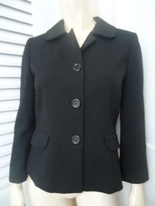 Ann Taylor LOFT Ann Taylor Loft Blazer Black Stretch Poly Blend Retro Mad 60s Style