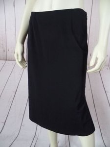 Calvin Klein Rayon Poly Spandex Stretch Fine Knit Straight Sexy Skirt Black