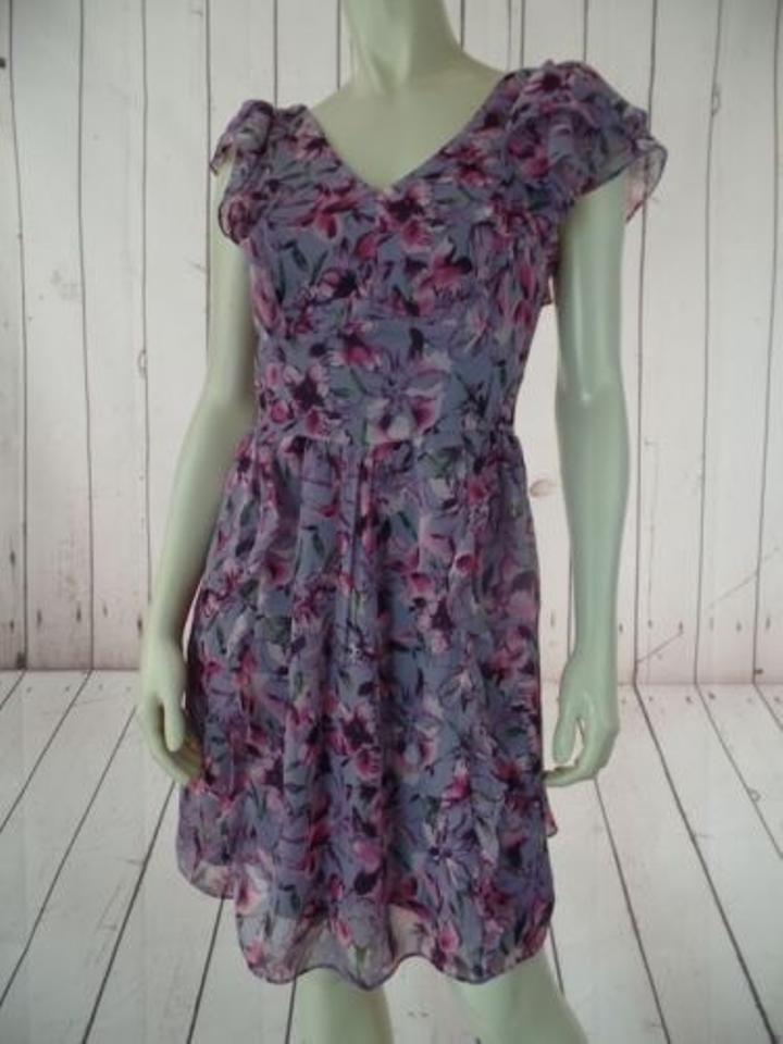 Express Dress Purple Pink Floral Sheer Outer Poly Layer Lined ...