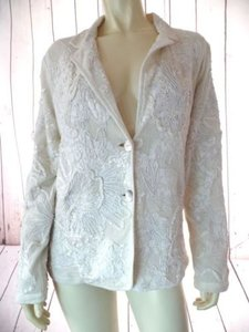 Chico's Chicos Blazer 1 Beige Cotton Netting Floral Applique Embroidery Stretch Boho