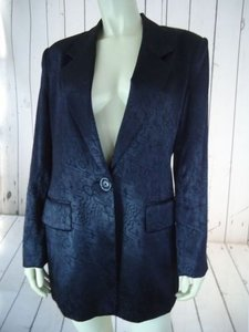 Other Ann Mai Blazer Black Embossed Shiny Silk Cotton Blend Button Front Lined