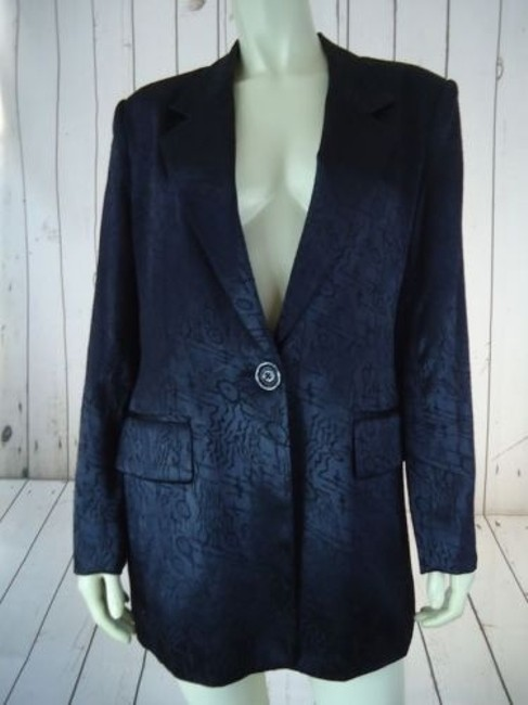 Other Ann Mai Blazer Black Embossed Shiny Silk Cotton Blend Button Front Lined Image 1
