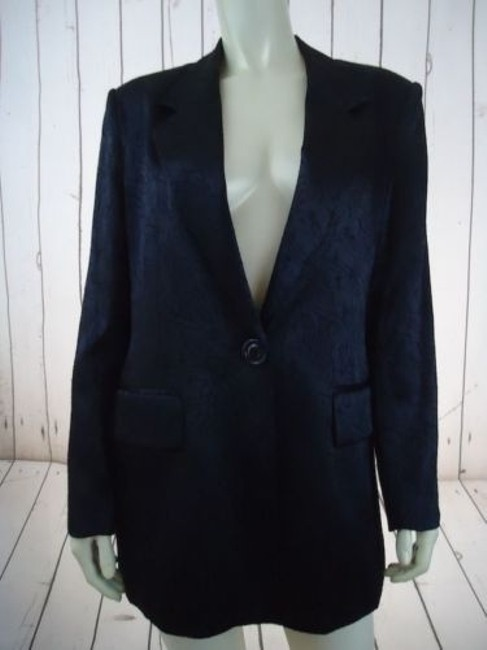 Other Ann Mai Blazer Black Embossed Shiny Silk Cotton Blend Button Front Lined Image 10