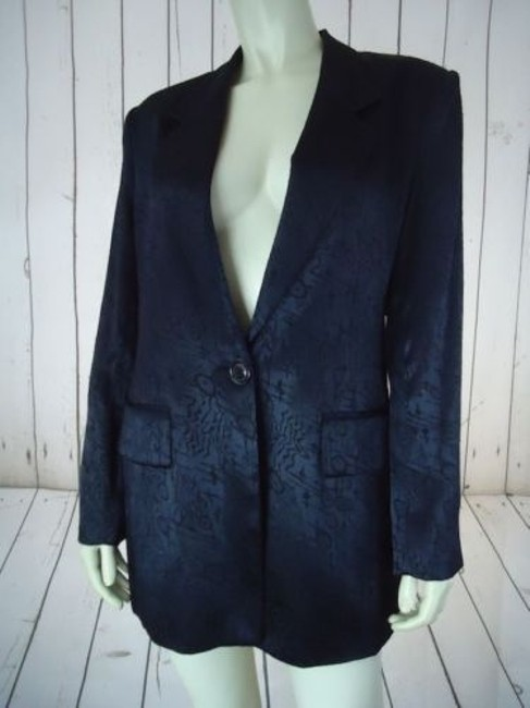 Other Ann Mai Blazer Black Embossed Shiny Silk Cotton Blend Button Front Lined Image 2