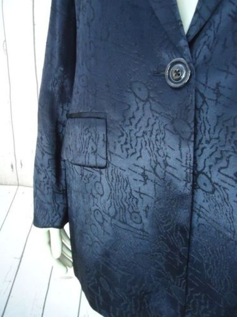 Other Ann Mai Blazer Black Embossed Shiny Silk Cotton Blend Button Front Lined Image 3