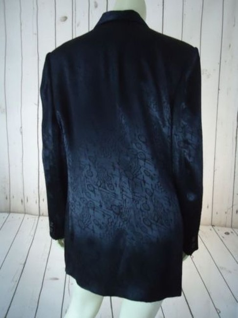 Other Ann Mai Blazer Black Embossed Shiny Silk Cotton Blend Button Front Lined Image 6