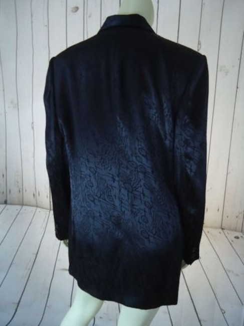 Other Ann Mai Blazer Black Embossed Shiny Silk Cotton Blend Button Front Lined Image 7