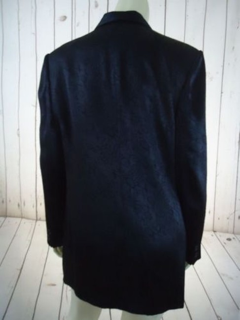 Other Ann Mai Blazer Black Embossed Shiny Silk Cotton Blend Button Front Lined Image 8