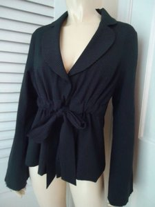 Symmetry Symmetry Blazer Stretch Poly Blend Black Pinstripe Raw Edges Drawstring