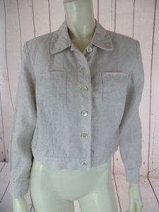 Talbots Talbots Petites Blazer Beige Heather Irish Linen Crop Shorty Button Front Chic