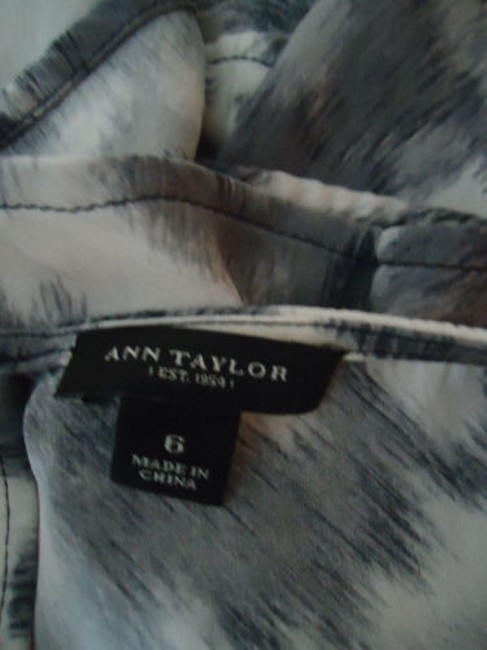 Ann Taylor Shirt Silk Spandex Knot Front Leopard Animal Print Chic Top Shades of Gray Image 10