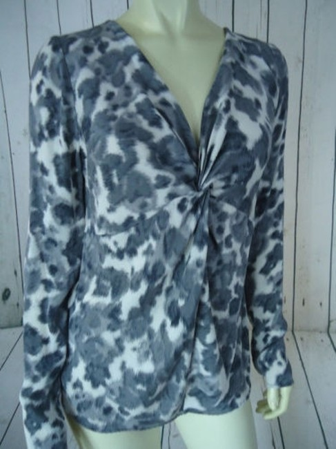Ann Taylor Shirt Silk Spandex Knot Front Leopard Animal Print Chic Top Shades of Gray Image 4