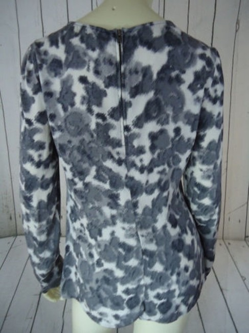 Ann Taylor Shirt Silk Spandex Knot Front Leopard Animal Print Chic Top Shades of Gray Image 6