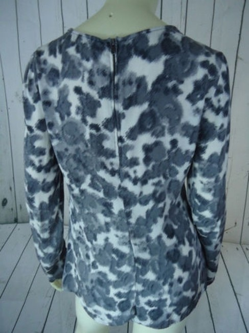 Ann Taylor Shirt Silk Spandex Knot Front Leopard Animal Print Chic Top Shades of Gray Image 8