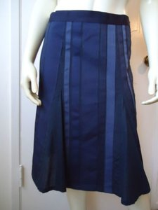 Kenneth Cole Ny Stretch Cotton Grosgrain Ribbon Pleated Usa Uk Hot Skirt Blues