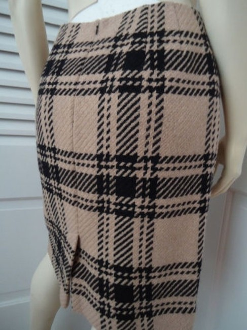 Ann Taylor LOFT Petites 4p Wool Blend Straight Retro Skirt Black & Tan Plaid Image 4