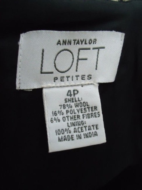 Ann Taylor LOFT Petites 4p Wool Blend Straight Retro Skirt Black & Tan Plaid Image 6