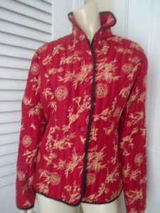Carole Little Carole Little Blazer Coat Quilted Red Silk Asian Themed Beads Piping Chic