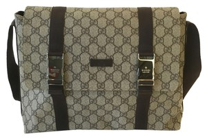 Gucci Monogram Canvas Messenger Silver Hardware Brown Messenger Bag