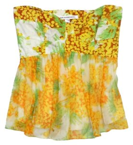 Diane von Furstenberg Yellow Green Print Strapless Top