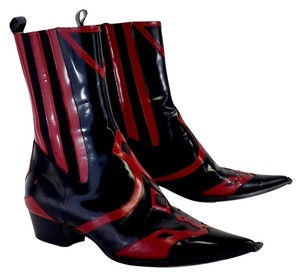 Dolce&Gabbana Black Red Leather Boots