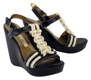 Twelfth St. by Cynthia Vincent Black Leather Rope Strap Wedges