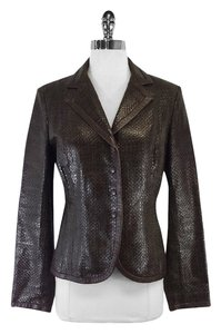 Max Mara Brown Woven Leather Leather Jacket