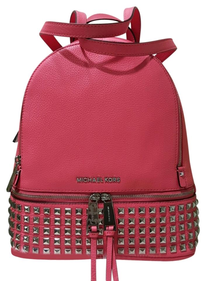 fa3ec36fb03d8b Michael Kors Rhea Studded Coral Leather Backpack - Tradesy