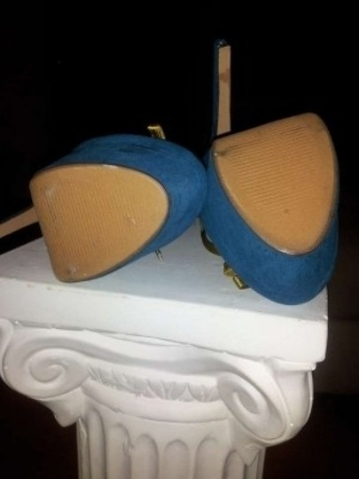 Other Mary Jane Heels Suede Teal with Gold Trim Pumps