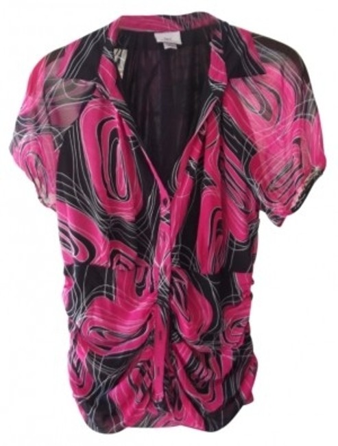 Preload https://item3.tradesy.com/images/worthington-pink-black-and-white-fully-lined-sheer-button-front-blouse-button-down-top-size-12-l-13587-0-0.jpg?width=400&height=650