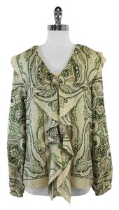 Etro Green Light Yellow Paisley Silk Top