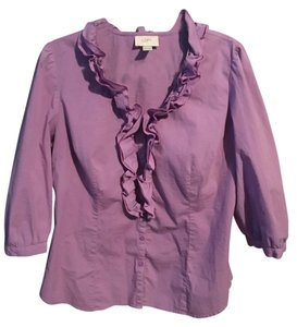 Ann Taylor LOFT Ruffle Button Down Top purple