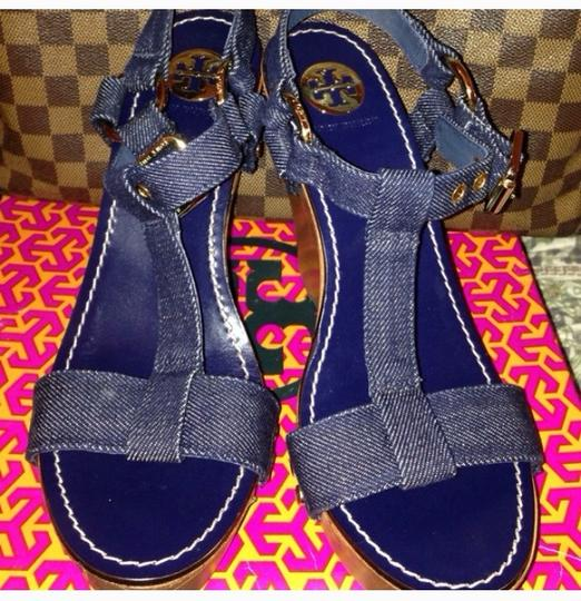 Tory Burch Denim Blue Wedges