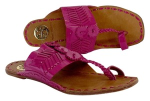 Tory Burch Pink Brown Toe Strap Sandals