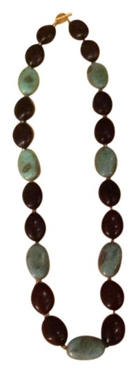 Preload https://item4.tradesy.com/images/turquoise-and-coffee-bean-beaded-necklace-135873-0-3.jpg?width=440&height=440