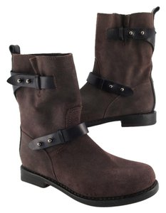 Rag & Bone Moto Leather Distressed & Grayish Brown Boots