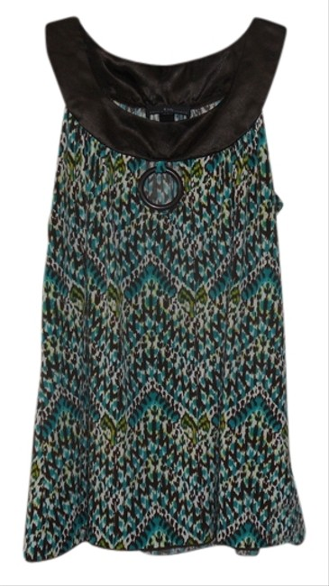 IZ Byer California Sleeveless Top Multi- Teal, brown, green, white patterrn w/ brown trim
